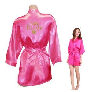 Image 5 - Kimono Robe Faux Silk Women Wedding Preparewear Bride Team Heart Golden Glitter Print Robes Bachelorette Pajamas Free Shipping
