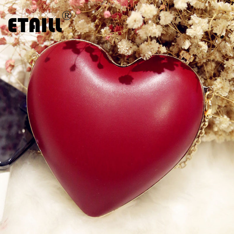 ETAILL Simple Heart Shaped Nude Women Evening Bags Red Fashion Chain Shoulder Bag Ladies Clutch Bags Purse For Party Wedding heart shaped decor star chain bag