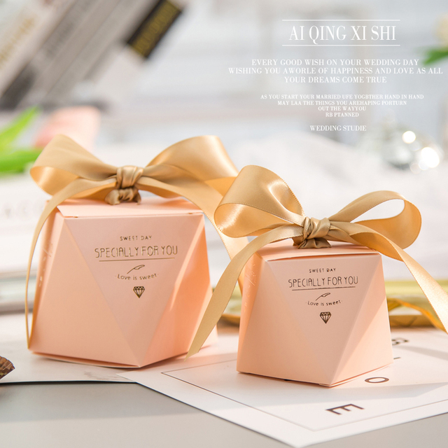 New Marble Diamond Wedding Favor And Sweet Gift Bags Candy Box For
