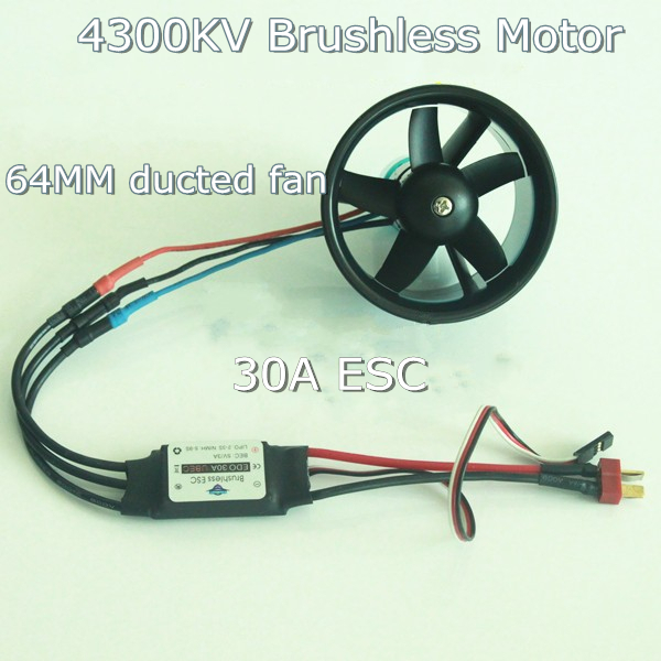 5-Blade 64mm Outrunner Ducted Fan + 4300KV Brushless Motor + 30A ESC for lipo RC Jet EDF plane Airplane Fan 4pcs 6215 170kv brushless outrunner motor with hv 80a esc 2055 propeller for rc aircraft plane multi copter