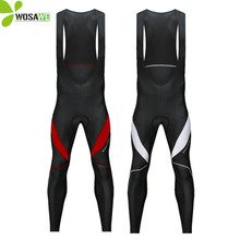 цены на WOSAWE Gel Pad Thermal Cycling Pants Men Thin Fleece Bib Trousers Reflective MTB Long Bike Tights Clothing Cycle Bicycle Pants  в интернет-магазинах