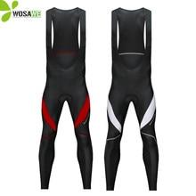 WOSAWE Gel Pad Thermal Cycling Pants Men Thin Fleece Bib Trousers Reflective MTB Long Bike Tights Clothing Cycle Bicycle Pants цена и фото