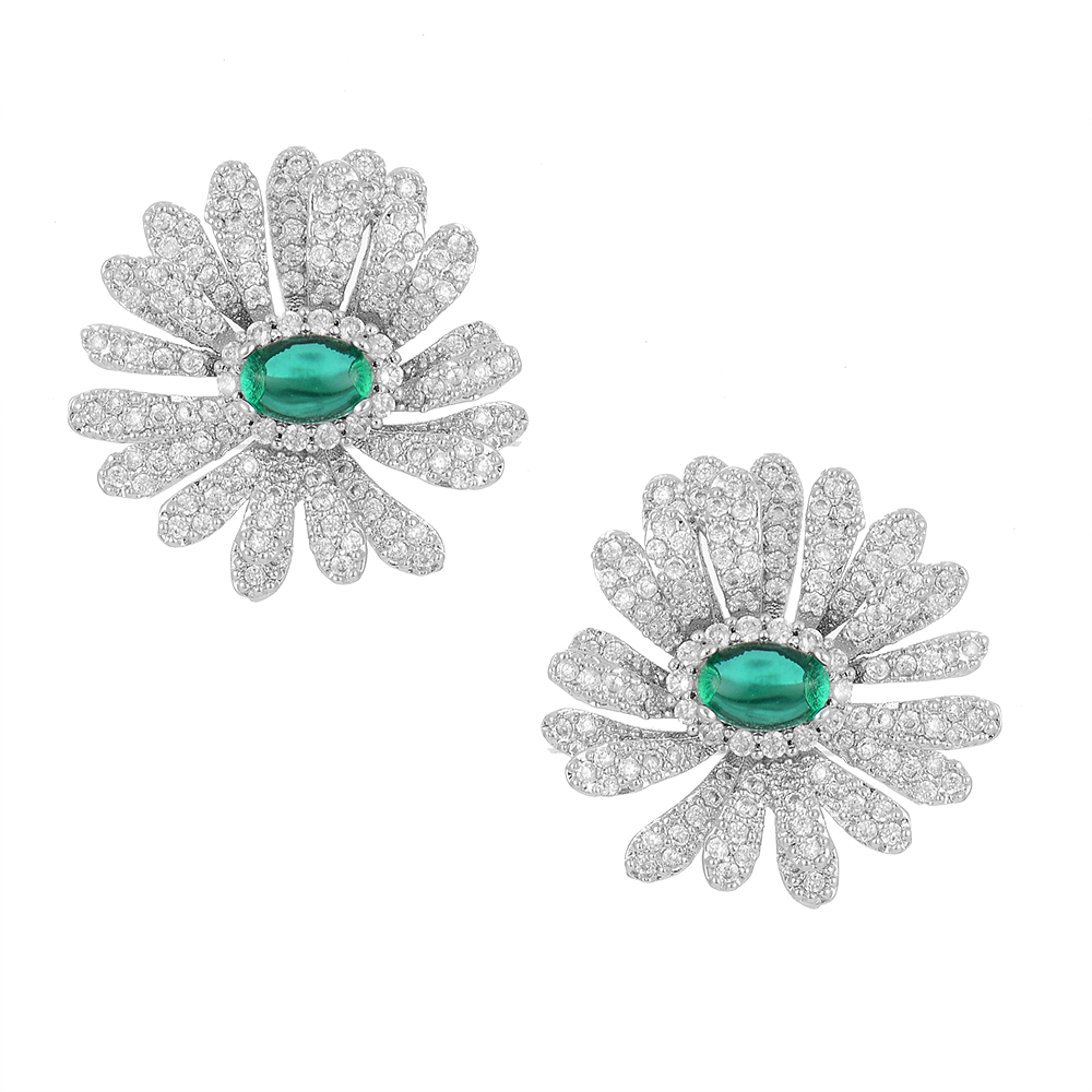 GODKI 25mm Daisy Flower Luxury Trendy Colorful Cubic Zirconia American Wedding Party Earring Fashion Jewelry for Women