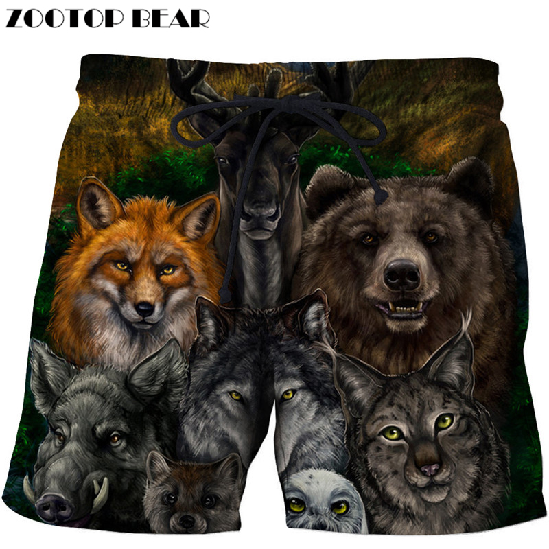 Lights & Lighting Intellective Wolf Printed Beach Shorts Masculino Homme Shorts Plage Quick Dry Swimwear Male Board Shorts Funny Pants Dropship Zootop Bear