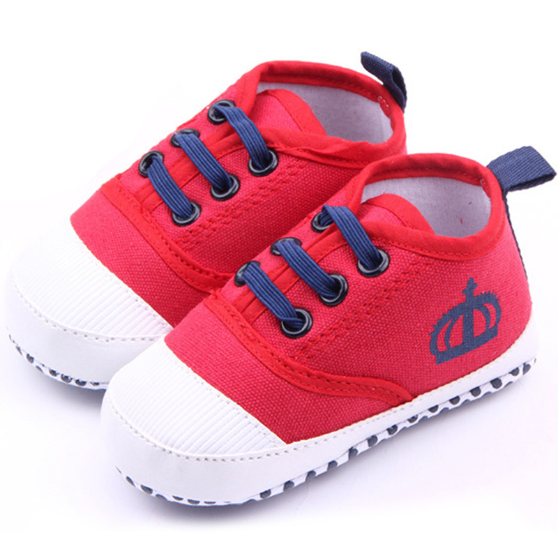 New Baby Shoes Boys Solid Cotton Crown Infant Soft Sole First Walker Toddler Shoes New P1