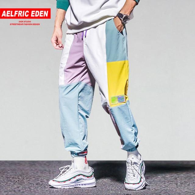 Aelfric Eden Color Block Patchwork Harajuku Joggers Men 2018 Hip Hop Harem Pants Male Casual Streetwear Swag Track Trousers UR63