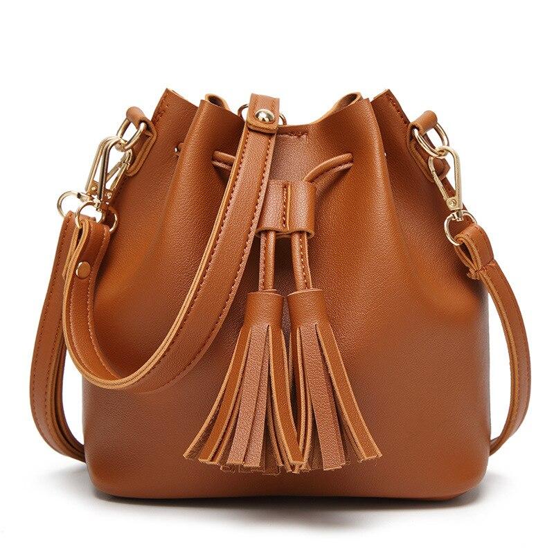 Women Bag with Tassel Strap Bucket Bag Women PU Leather Shoulder Bags Brand Designer Ladies Crossbody Messenger Bags 2018