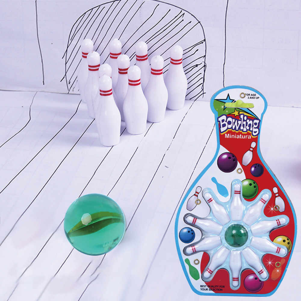 Toy Sports 10 Bowling & 1 Marble Pinball Bowling Toy Indoor Party Game Child kid bowling toy mini house play Bowling &e