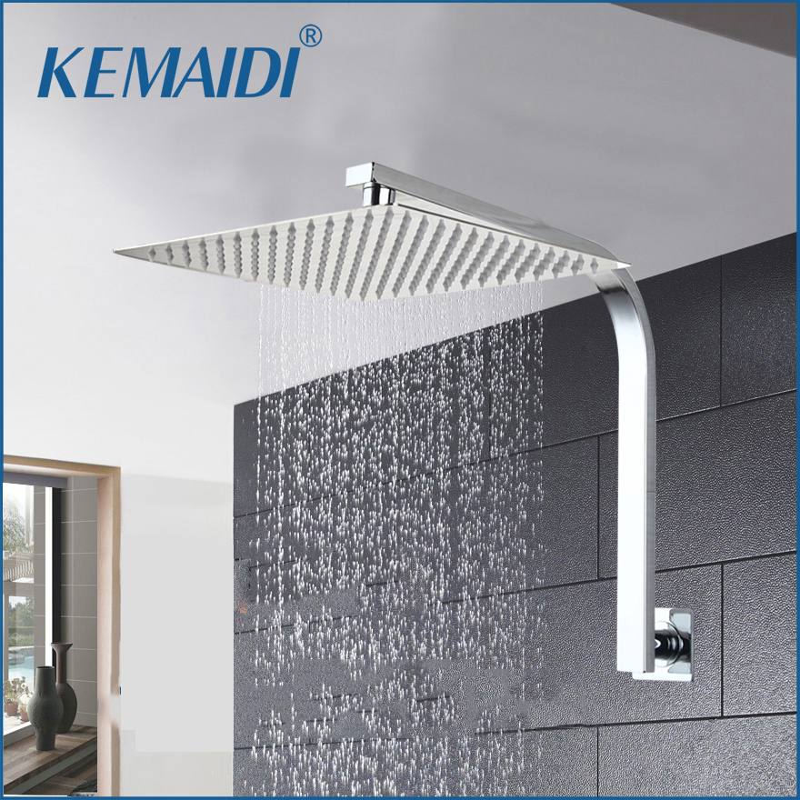 KEMAIDI Bathroom shower Head Gooseneck Square Brass Wall Mount Shower Arm Ultrathin Bathroom Shower Head Set abs chrome water rains shower head large square shower head with wall mount extension shower arm for bathroom shower set