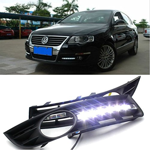 2Pcs LED DRL Light Grill Daytime Running Light with Grille With Fog Lamp Cover for VW Passat B6 2006-2011 Super Bright Fog Light auto led car bumper grille drl daytime running light driving fog lamp source bulb for vw volkswagen golf mk4 1997 2006 2pcs