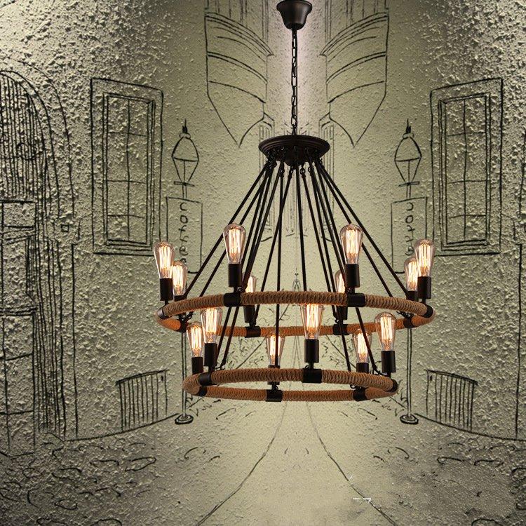 Rope Industrial Pendant Lights Living Room Restaurant Bar Cafe Edison Lamps Retro Hanging Lamp Lamparas Colgantes