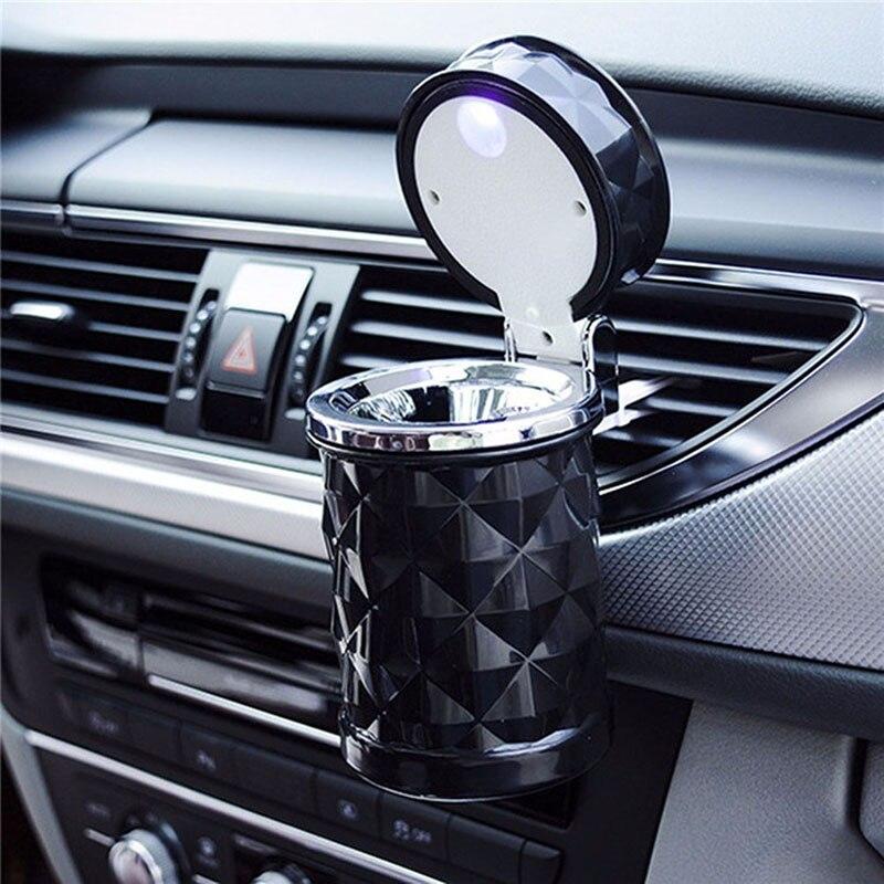 Aksesoris Mobil Lampu LED Portable Mobil Asbak Rokok Universal Silinder Holder Mobil Styling 2019