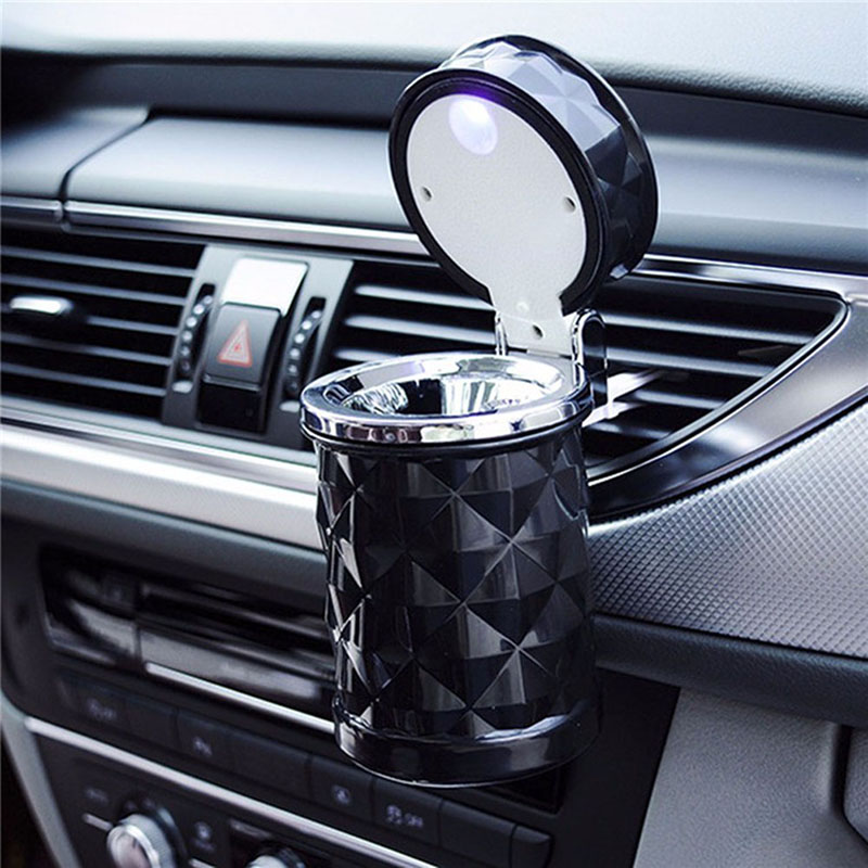 Car Accessories Portable LED Light Car Ashtray Universal Cigarette Cylinder Holder Car Styling 2019