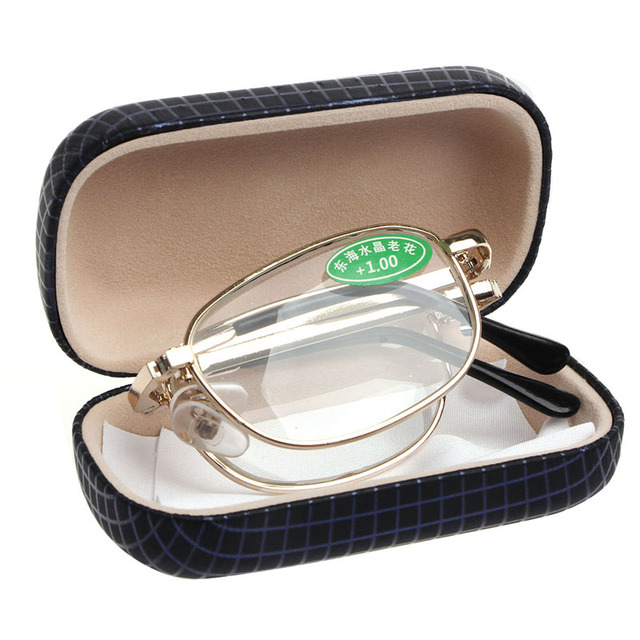 2018 Women Men Metal Frame Folding Reading Glasses with Case Strengths +1.00 to +4.00