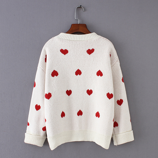 Winter Heart Printed Women's Loose Pullover