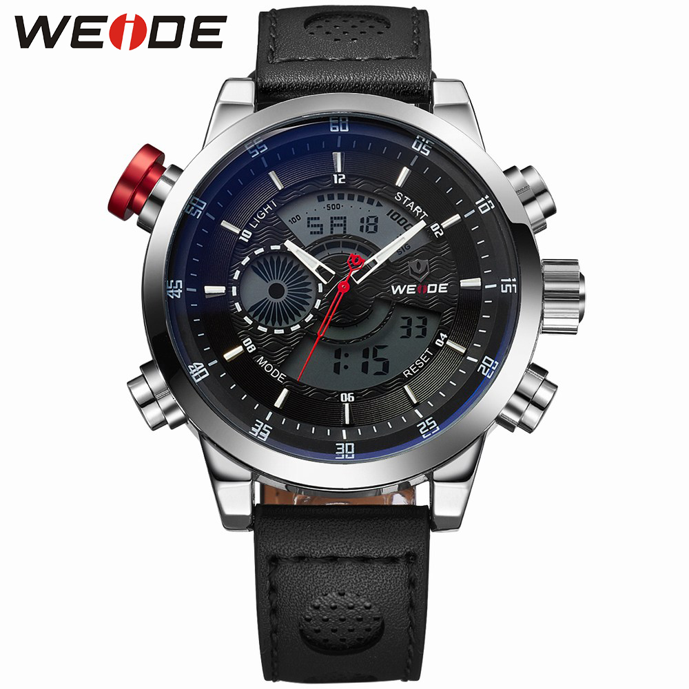 weide 2017 new Men's sports watches leather role luxury brandsport in digital waterproof LCD automatic watch army alarm clock weide 2017 new quartz casual watch army military multiple time zone sports watch waterproof back alarm men watches alarm clock