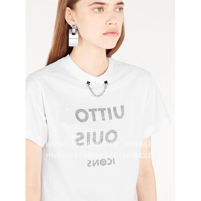 Ziwwshaoyu Simple lettre impression T-shirt o-cou décontracté 100% Cotto T-shirt 2019 printemps et été nouvelles femmes
