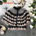 ALPHALMODA 2019 Summer French Retro Sweet Princess Lace Blouses Multi-Layer Embroidered Floral Ruffled Short-sleeved Vintage Top