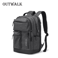 OUTWALK Multifunction USB Charging Men 15inch Laptop Backpacks For School Bags Fashion Male Mochila Travel backpack anti thief