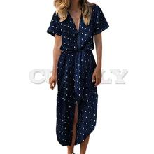 CUERLY Dress elegant Sexy Casual Daily Bow Tie V Neck polka Dot Button Dresses Short Sleeve Solid Long women 2019