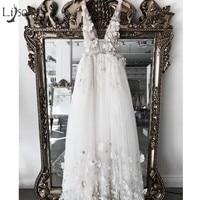 Pretty 3D Flower Pearls Wedding Dresses 2018 Sexy Backless Lace Sexy Beach Bridal Gowns Vestido De Noiva Casamento 2018