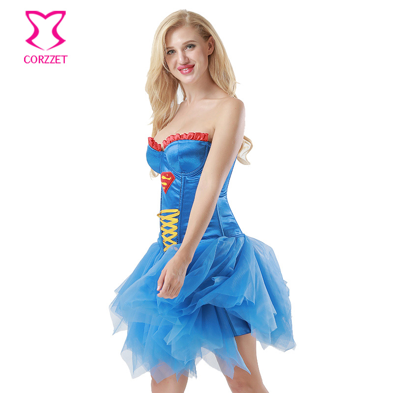80c25f2a1f Corzzet Blue Cotton Overbust Corsets And Bustiers Waist Trainer Burlesque  exy Superhero Costume Cosplay Superwoman Corset Dress-in Bustiers   Corsets  from ...