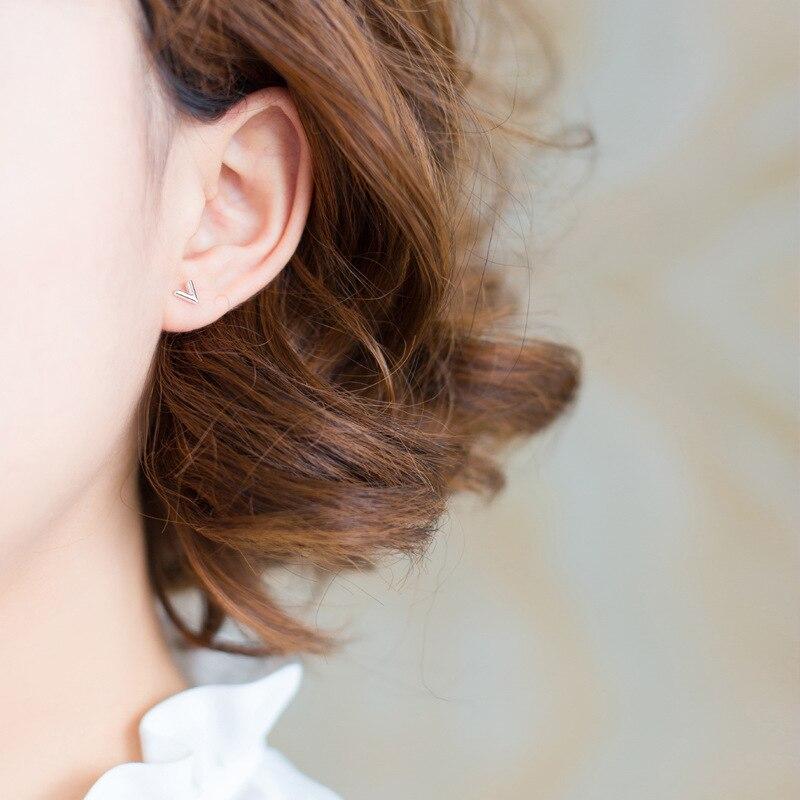 Peri'sBox 925 Sterling Silver Small Arrow Tiny Stud Earrings for Women Mini V Shape Post Earrings Minimalist Geometric Ear Studs