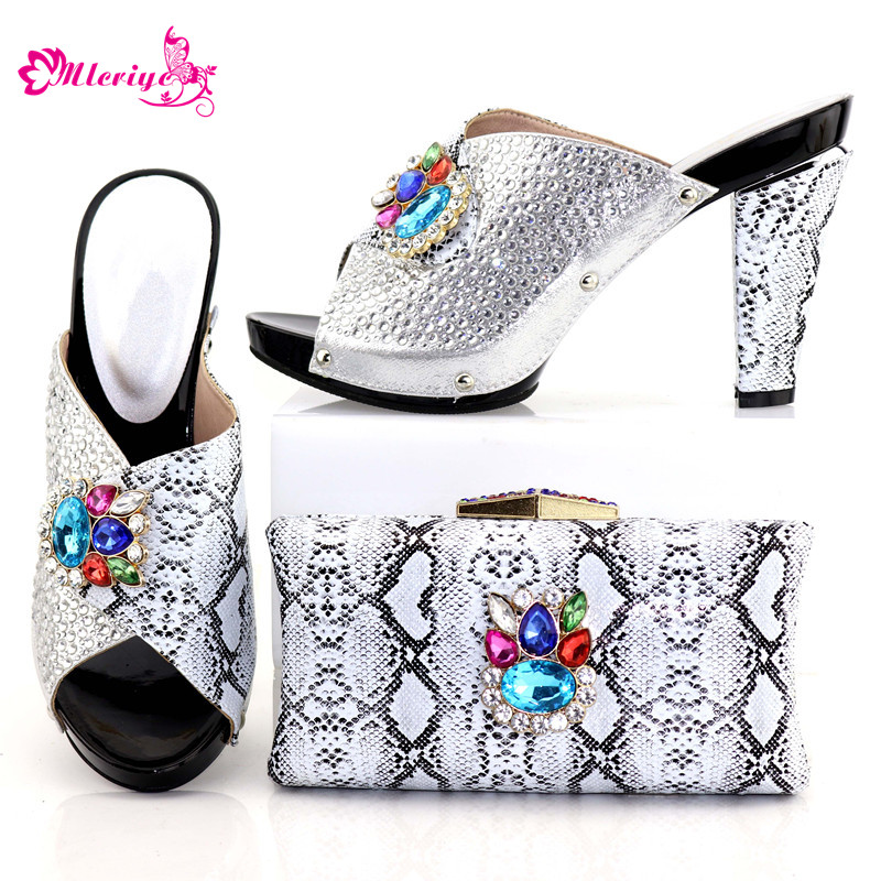 Latest Design African Wedding Shoes and Bag Set Decorated with Rhinestone Italian Ladies Shoes and Bags To Match Set for Party latest african women shoes and bags set women shoe and bag to match for parties italian design shoes and bag for party bch 37