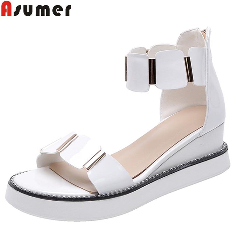 ASUMER 2019 nouvelles chaussures en cuir véritable femmes zip chaussures à semelles compensées femmes chaussures d'été zip plate-forme dames chaussures sandales décontractées pour femmes