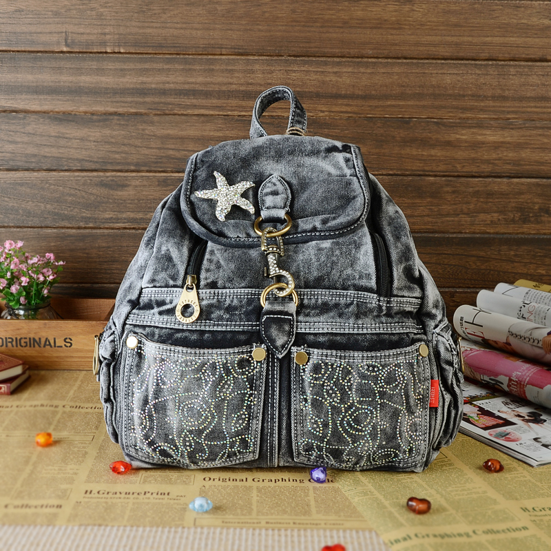 New Vintage Fashion Elegant Rhinestone Star Denim Jeans Women Girl's Travel Daypack Backpacks Totes School Bag vintage women jeans calca feminina 2017 fashion new denim jeans tie dye washed loose zipper fly women jeans wide leg pants woman