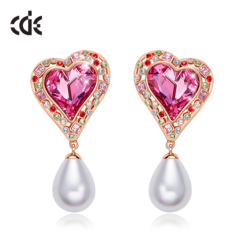 CDE Earrings For Women Embellished With Crystals from Swarovski Heart & Pearl Dangle Wedding Earrings  Fashion Jewelry GiftCDE Earrings For Women Embellished With Crystals from Swarovski Heart & Pearl Dangle Wedding Earrings  Fashion Jewelry Gift