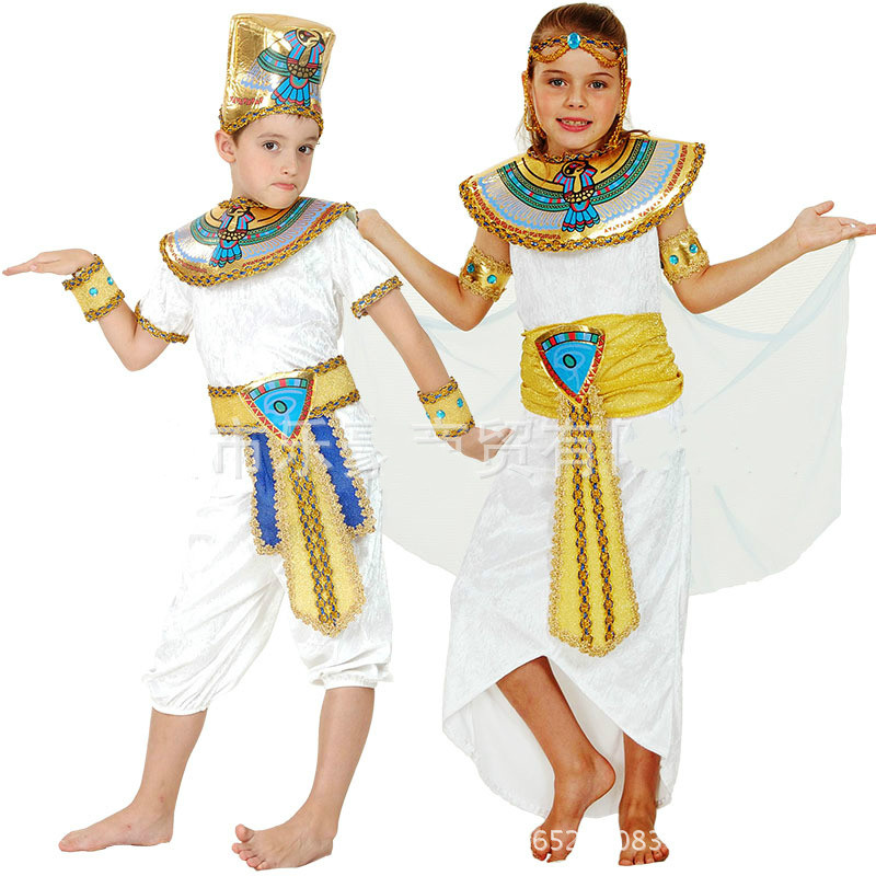 Halloween cosplay Egypt prince princess royal king queen luxury golden men women costume Masquerade theme party adult girl boy