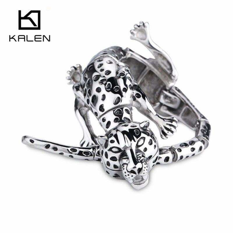 Kalen Men's Punk Leopard Bracelets Stainless Steel Rock Animal Leopard Pattern Bracelet Wrap Bangle Male Wholesale Jewelry Gift