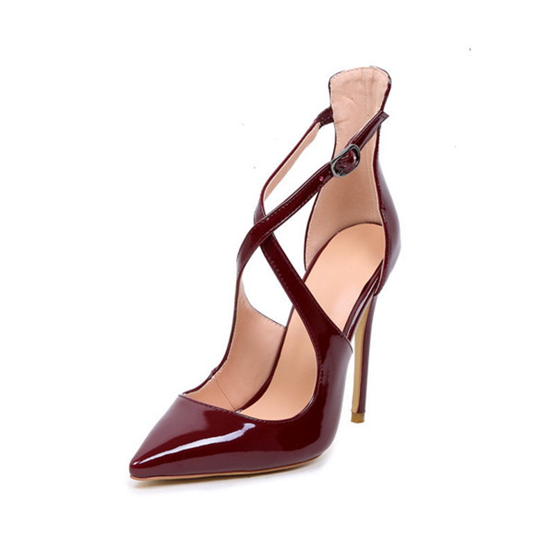 Haute Mujer Vente Chaussures Roi Robe attaché Talons Croix Soirée Vin De Boucle Pu 2018 Emma Top Pompes Femmes Rouge Zapatos Partie wpqgAqP