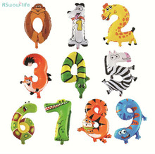 Animal Digital Balloon Festival Party Supplies 0-9 Cartoon Decorative Balloons Family Room Decorations