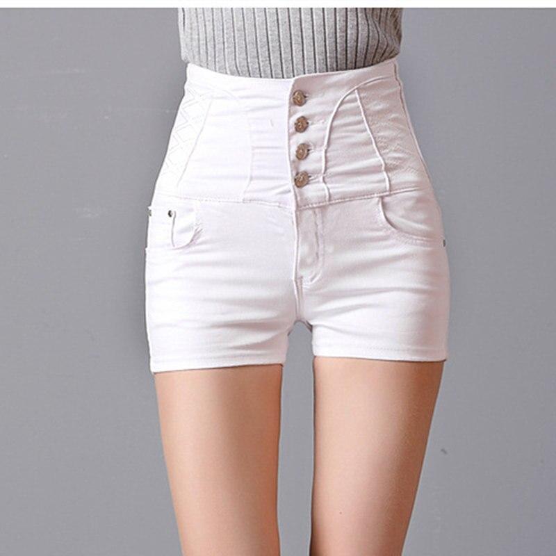 Heyouthoney botões retro bodycon das mulheres shorts jeans com cintura alta jeans  branco shorts curtos para as mulheres feminino cintura alta em Calções de  ... a1284350c2846