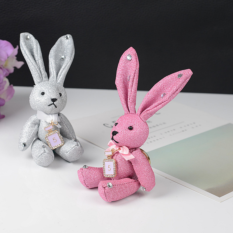 2019 19cm Glitter Rivets, Matte, Diamonds, Long Ears Rabbit Doll Baby Soft Plush Stuffed &Plush Animal Keychain Toys