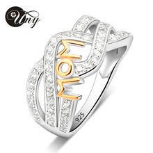 UNY Special Customized Engrave Family MOM Letter Shape Ring In Sterling Silver And Rhodium 2 tone Plated Jewelry Rings Size 4-12