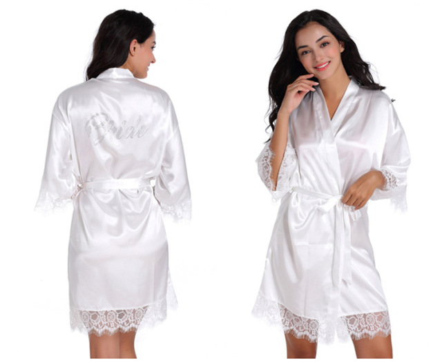 1d1e93b7d6 Women s Bridal White Short Lace Up Kimono Robe Satin Silk Bridesmaid  Rhinestone Wedding Robes Sleepwear Dressing Gown