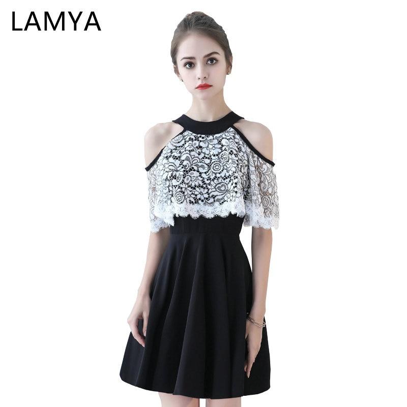 LAMYA 2018 Black Halter   Prom     Dress   Short Lace A Line Illusion Evening Party Gown Plus Size Zipper Robe De Soiree Longue