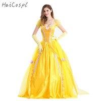 La bella y la Bestia Disfraces Adulto Mujeres Belle Vestidos de Fiesta Elegante Flor de Las Muchachas Amarillo Largo Vestido de Mujer Princesa de Anime Cosplay