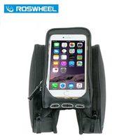 New Roswheel 5.7'' Black Bicycle Front Tube Bag Mountain Bike Phone Case Bag Bicycle Double Pannier Pouch Size L Bolso Bicicleta