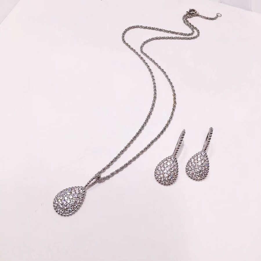 Novo designer de jóias para as mulheres 2019 moda colar cristal pedra pingente marca luxo rosa ouro 585 prata contas bijoux