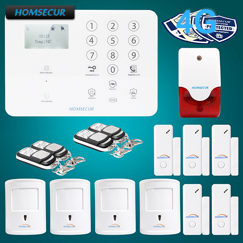 HOMSECUR Wireless&wired 4G LCD Home Security Alarm System+Multi-Languages Menu GA01-4G-W 2 4g wired