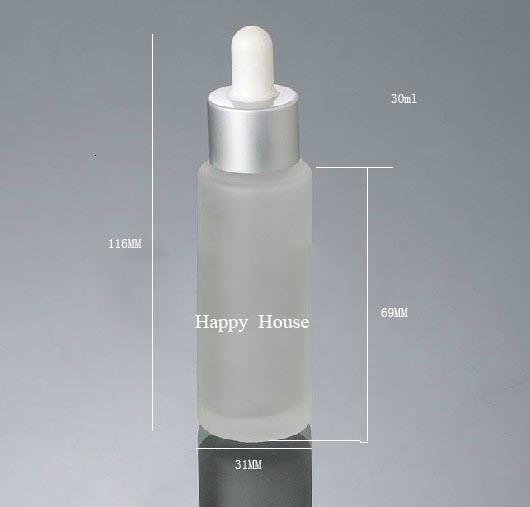 20 x 30ml Refillable Flat Frost Glass Dropper Bottle With Silver Black Drop Pipette Dropper Vial