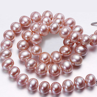 RUNZHUQIYUAN 2017 100% natural freshwater pearl choker necklace 8 9mm real pearl Jewelry White, Pink, Purple colors for women