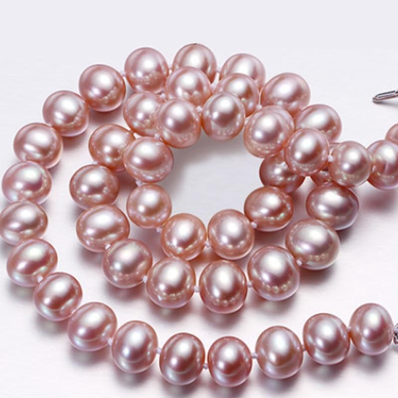купить RUNZHUQIYUAN 2017 100% natural freshwater pearl choker necklace 8-9mm real pearl Jewelry White, Pink, Purple colors for women по цене 5983.78 рублей