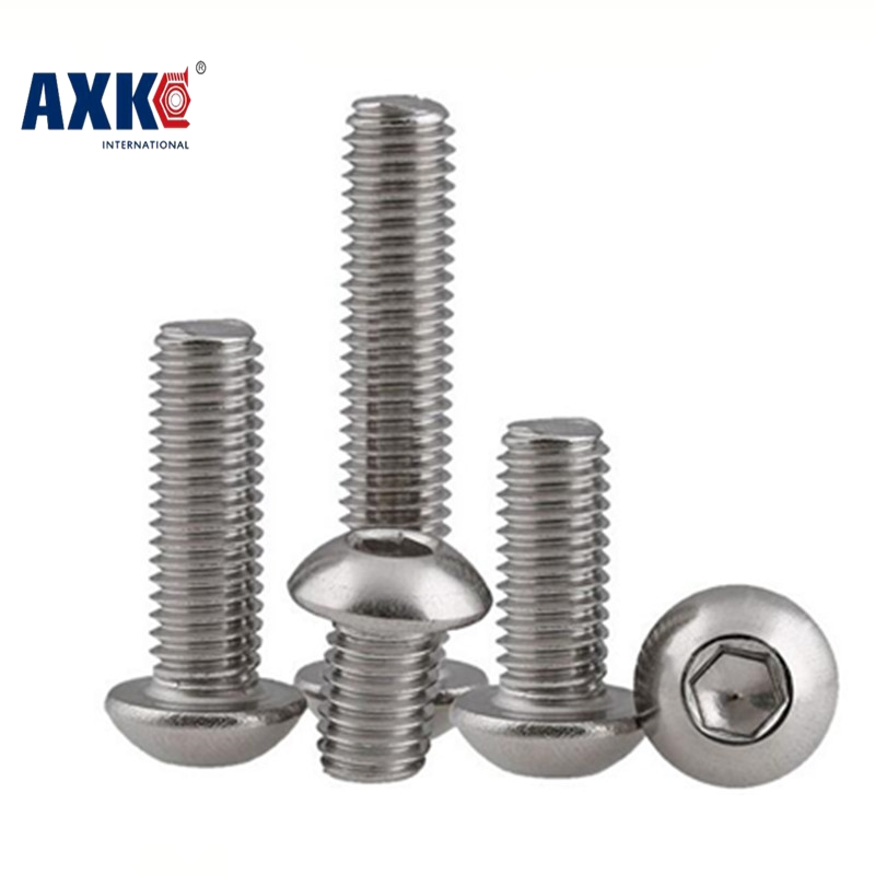 AXK M4 Bolt A2-70 Button Head Socket Screw Bolt SUS304 Stainless Steel M4*(5/6/8/10/12/14/16/18/20/25/30/25~80) mm 50pcs iso7380 m3 5 6 8 10 12 14 16 18 20 25 3mm stainless steel hexagon socket button head screw