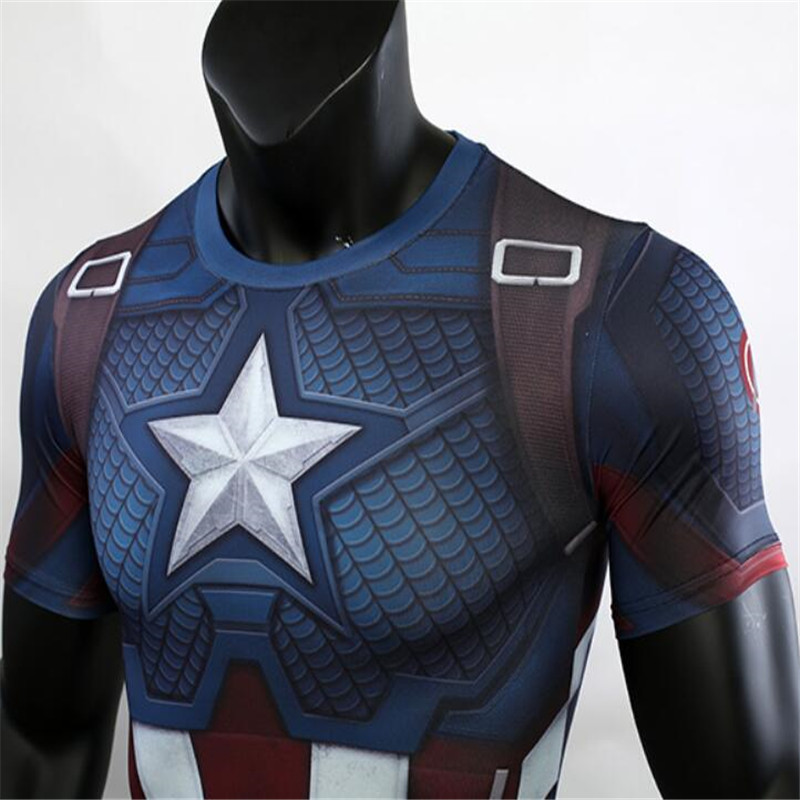 US Captain Cosplay Clothes Avengers 4 Surrounding 2019 Slim-type COS With The Fish Scales Suit Marvel Thin Short-sleeved T-shirt