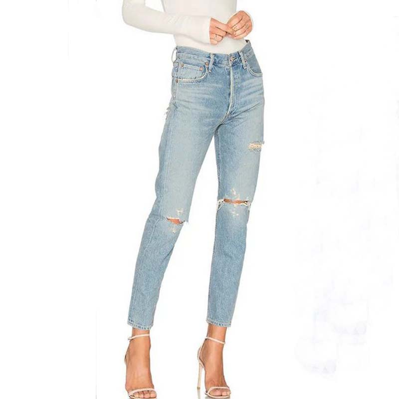 Spring New Fashion Cotton Jeans Women Loose  Middle Waist Washed Vintage Hole Ripped Long Denim Pencil Pants spring new fashion cotton jeans women loose high waist washed vintage big hole ripped ankle length denim straight pants mz1535